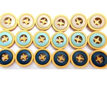 18 Vintage buttons, 3 colors, 18mm