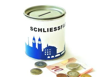 Travel Bank ZURICH Schliessfach Lock Box Trip Fund Cash Box - money box - globe bank - vacation savings bank - gift wrap