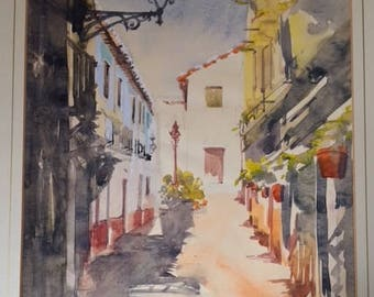 A really delightful original Provence watercolour. Signed and dated Rampton 1969