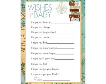 Digital Printable Baby Shower Wishes for Baby Cards with Travel Map for Gender Neutral Baby Showers G092Wish
