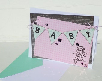 New Baby Girl Greeting Card - Baby Shower Handmade Paper Card with Coordinating Embellished Envelope