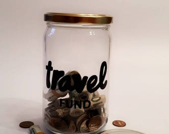 Travel Fund - Adult Piggy Bank - Savings Jar - Money Box - Vacation Savings - Large Coin Bank - Travel Gift - Travel Fund