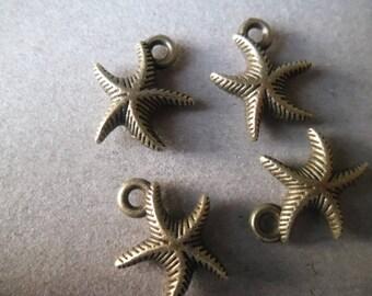 x 2 Starfish pendants bronze 17 x 14 mm