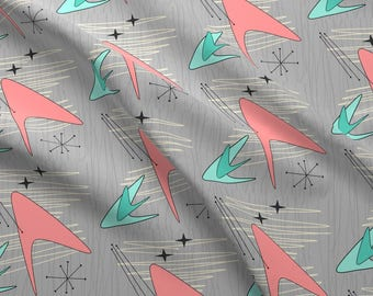 Retro Mod Fabric - Atomic Boomerangs Salmon Green Grey By Lillierioux - Mid Century Modern Retro Cotton Fabric By The Yard With Spoonflower