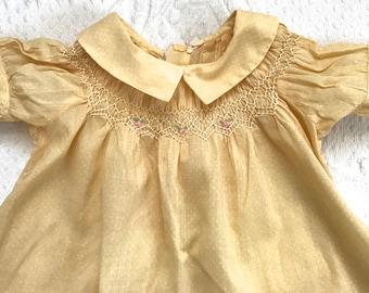 yellow baby dress . smocked baby dress . embroidered baby dress . 6-9 months . pale yellow baby dress