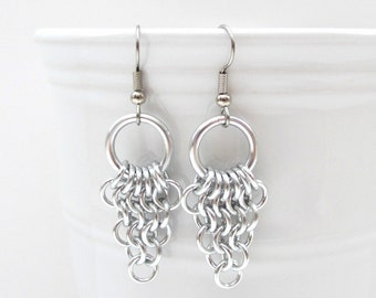 Chainmaille Euro 4 in 1 earrings, dangle earrings, silver earrings