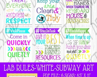 INSTANT DOWNLOAD, Computer Lab Rules, Subway Art, Technology Rules, Subway Rules, JCTDesignz, computer lab, rules sign, Subway Art Rules
