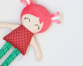 Handmade Cloth Doll, Girls First Birthday, Fabric Doll, Watermelon Gift, Rag Doll with Tutu, Watermelon Soft Toy, Cotton Doll
