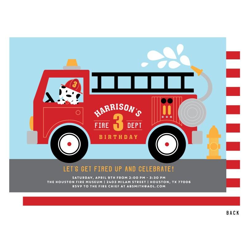 Fire Truck Invitation Fire Truck Birthday Party Invitations