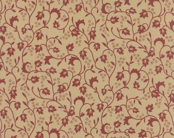 Sticks & Stones Prints by Laundry Basket Quilts, Floral Reproduction Vines, Berries Red 42214 17