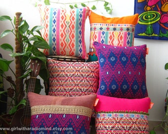 3 Accent Pillows - Set of three - Colorful, Mexican, Boho, Gypsy, Rustic - Your Choice of Design - 16x16 inches