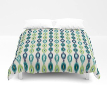 Duvet Cover, Navy Teal Pear Green Beige Ikat Bedding, Home Decor, Twin Queen King