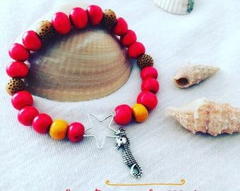 Red wooden beaded hippie bracelet