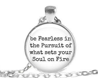 Inspirational Quote Necklace Fearless quote jewelry Graduation Gift Graduation Necklace Travel Gift Wanderlust Travel Keychain