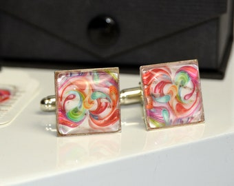 Love postage stamps square cufflinks . Rainbow coloured heart