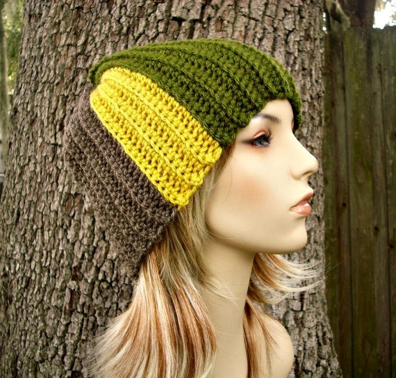 Crochet Hat Womens Hat - Multicolor Hat Remnant Beanie in Mustard Olive Taupe Linen Purple Crochet Hat Womens Accessories - READY TO SHIP