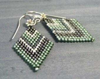 Green Boho Earrings Seed Bead Earrings Handmade Jewelry Diamond Dangle Earrings Sterling Silver Beadwoven Earrings Lightweight Earrings Gift