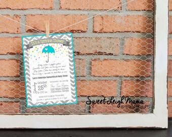 Sprinkle Shower Invitation - Baby Sprinkle - Baby Shower - Umbrella - Customize - Printable - 5x7 - Gender Neutral - Baby Girl - Baby Boy