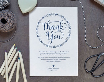 Navy Blue Wedding Thank You Printable Template, Thank You Card Template, Printable Thank you, Thank You Template, Thanks Template, WPC_223