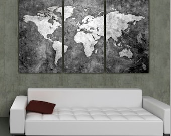 World map art etsy world map art on canvas bw 3 panel gallery wrap wall art set for home publicscrutiny Images
