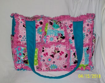Minnie Mouse Pink Aqua Spring Rag Quilted Diaper Bag Tote Purse Adorable