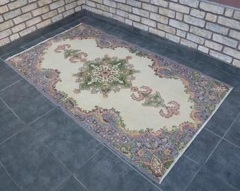 free ship rug,6'9''x3'8''modern old vintage rug,211x117,turkish wool rug,traditional antique rug,pastel medallion design rug,soft floor rug
