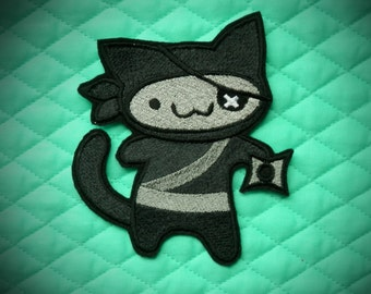 """Ninja Kitty Iron On Patch, Ninja, Cat, Large 4.9"""" X 5.6"""", Embroidered Patch, Stealth, Action Hero, Super Hero"""
