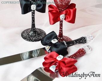 Burgundy and Black Wedding Cake Serving Set- Wedding Cake and Knife Serving Set- Wedding Cake Accessories, wedding gift, Bridal shower