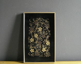 Gold and Black Flowers - Vintage Tray - Serving Tray or Organizing Tray