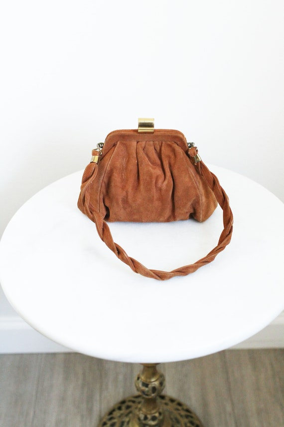 1930s brown leather purse // 1930s small purse // vintage purse