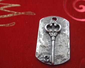 925 sterling silver oxidized key charm, silver key pendant, silver key dog tog