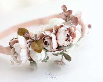 Dusty Rose Flower Crown, Champagne Flower Crown, Ivory Flower Halo, Rustic Flower Crown, Taupe Flower Crown, Cream Flower Crown