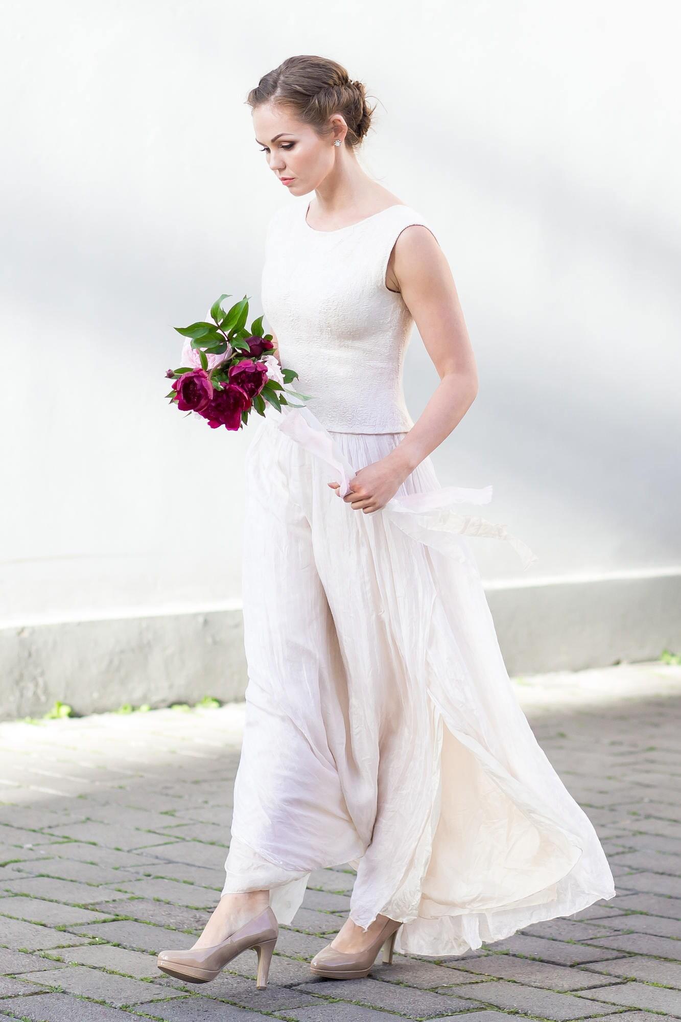 Hochzeitskleid Seide Filz Hochzeitskleid Brautkleid
