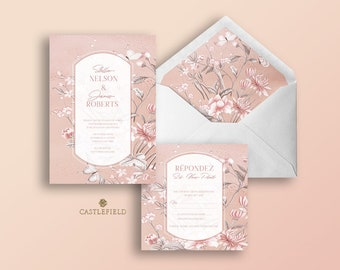 Castlefield Pink Mauve Floral Chinoiserie Wedding Invitations RSVP Card Menu Envelope Liner Stationery Customized Printable Luxury