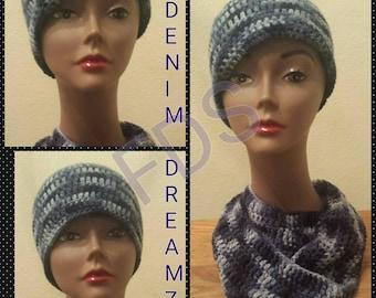 Denim Dreamz crochet hat & infinity scarf set