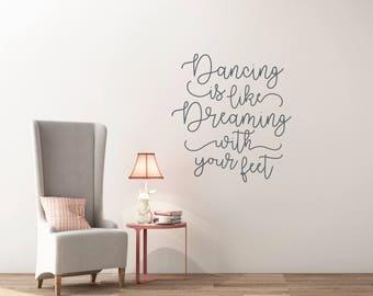 Dance wall art, Wall decals for girls, Wall art quote, Playroom wall decal, Wall decals for kids wall sticker, Ballerina wall decal DB455