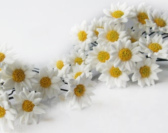 daisy studs in her hair