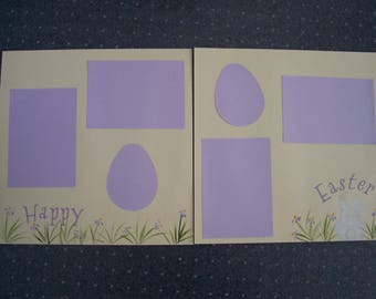 Scraps by TJ  Hand painted Premade  12x12 Easter scrapbook page layout Happy  Easter