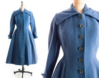 "FREE US SHIP - Vintage 50s Coat // 1950s Coat // Periwinkle Blue Princess Coat // Flared Coat // Fit and Flare Coat - sz S/M 30"" Waist"