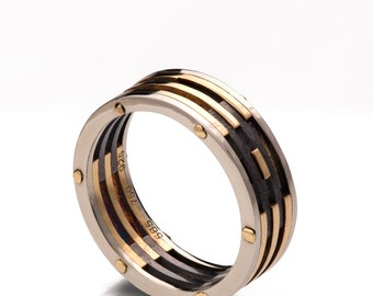 Gold Wedding Band, Men's 18K Gold and Oxidized Silver Wedding band, steampunk, Wedding ring, black and gold ring, RBNG218KY