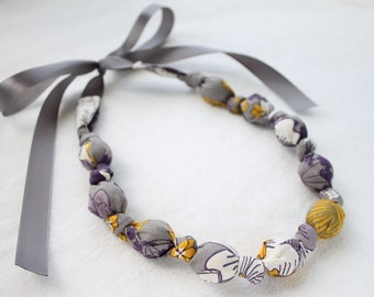 Fabric Necklace, Chomping, Teething, Nursing Necklace - Purple and Gold flowers
