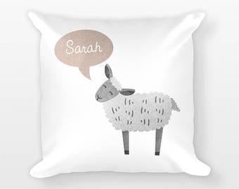Custom Name Pillow, Lamb Sheep Pillow, Personalized Pillow, Birthday Gift for Her, Kids Room Decor, Animal Throw Pillow, Decorative Pillow