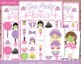 Spa Party Bingo Printable Party Game - Spa Birthday Party Game - Pamper Party Game - Spa Bingo - Printable PDF - Instant Download