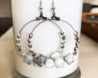 Beaded Gray and White Hoop Earring