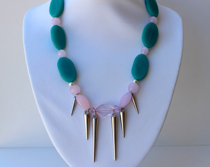 Turquoise and Pink Spike Statement Necklace.