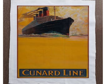 Cunard Line To all parts on the World Ship travel - Sewing, Cushion, Upholstery, Craft, Patchwork and Quilting Fabric Panel 100% cotton