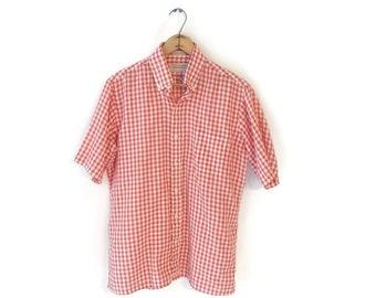 Mens Vintage Arrow sportswear Short Sleeve Casual Gingham Shirt Sz M thin