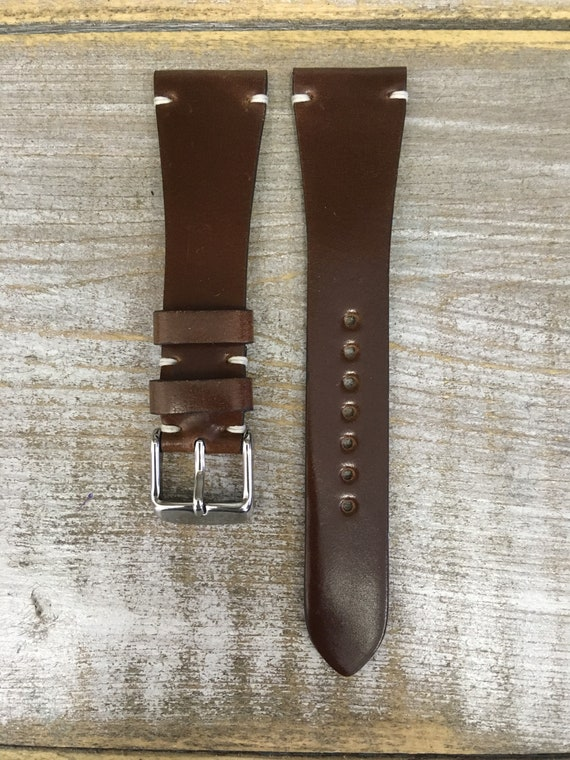 22/16mm Bourbon Horween Shell Cordovan watch band - simple side stitch