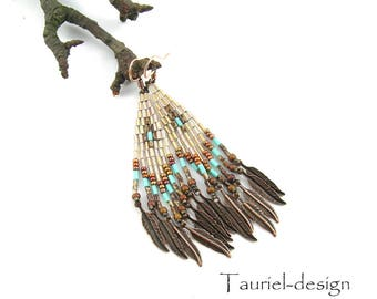 Gold Turquoise Earrings Native American Beaded Earrings inspired Boho Earrings Ethnic Earrings Beadwork Earrings with Feathers