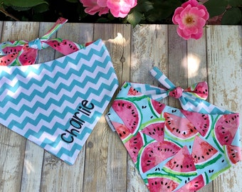 Watermelon Dog Bandana | Personalized Reversible Pet Bandana | The Best Custom Puppy Dog Gifts by Three Spoiled Dogs